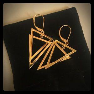 14k YG Triangle drop earrings,EUC